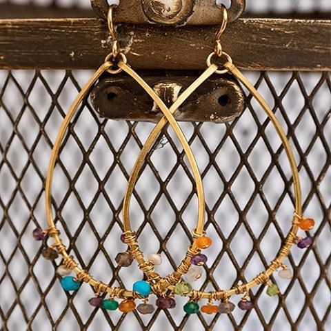 The perfect teardrop earring with multi- colored semi- precious stones. These delicate and delightful earrings will go with everything in your closet!#Jewelry#springstyle#curated#lovewhatuwear#handcrafted