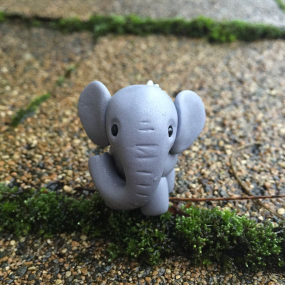 Succulent Elephant  Polymer Clay Figurine  Handmade Gift