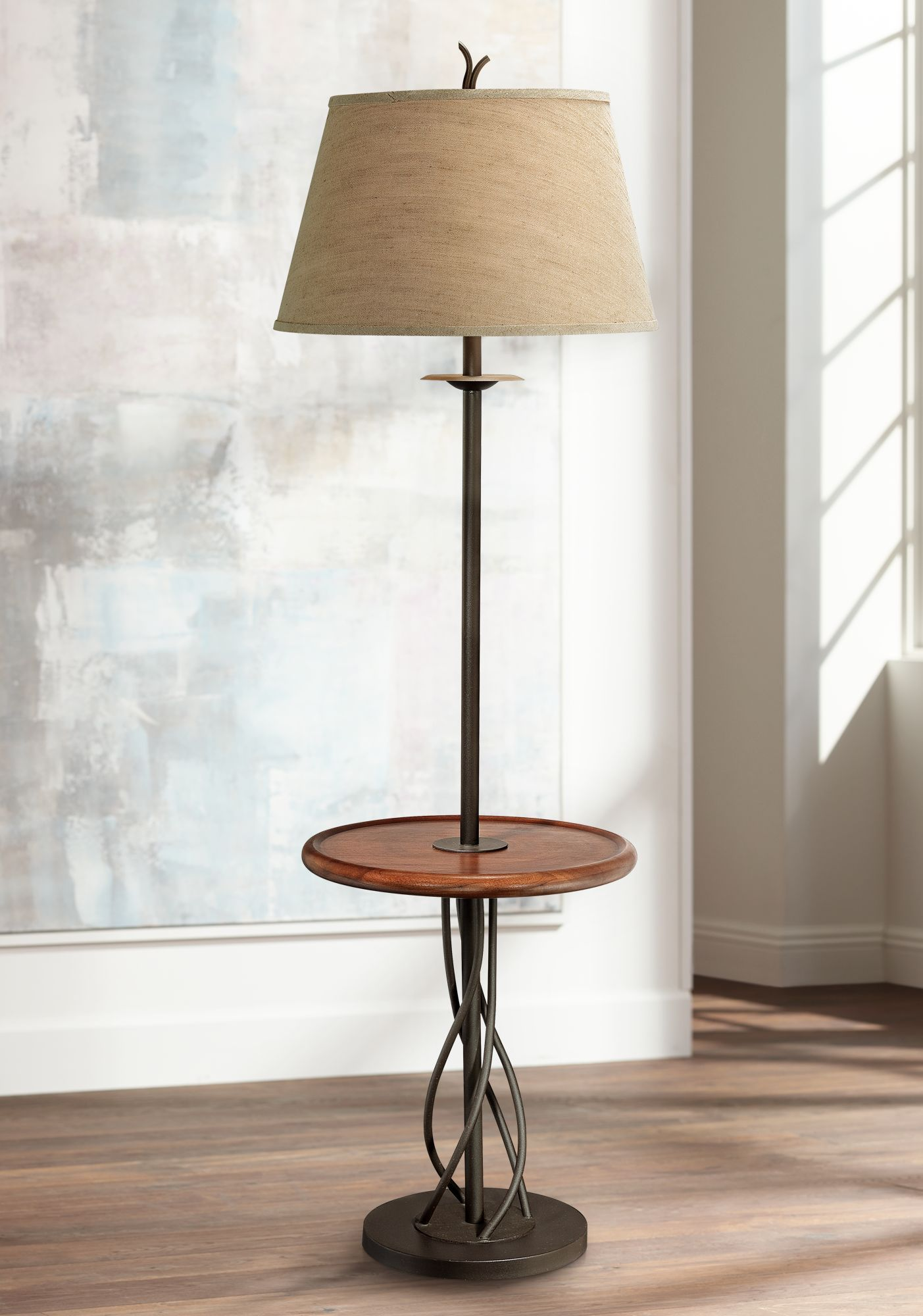 Tablett Tisch Stehlampe Eisen Twist Basis Holz Rustic Floor Lamps Floor Lamp Table Floor Lamp With Shelves