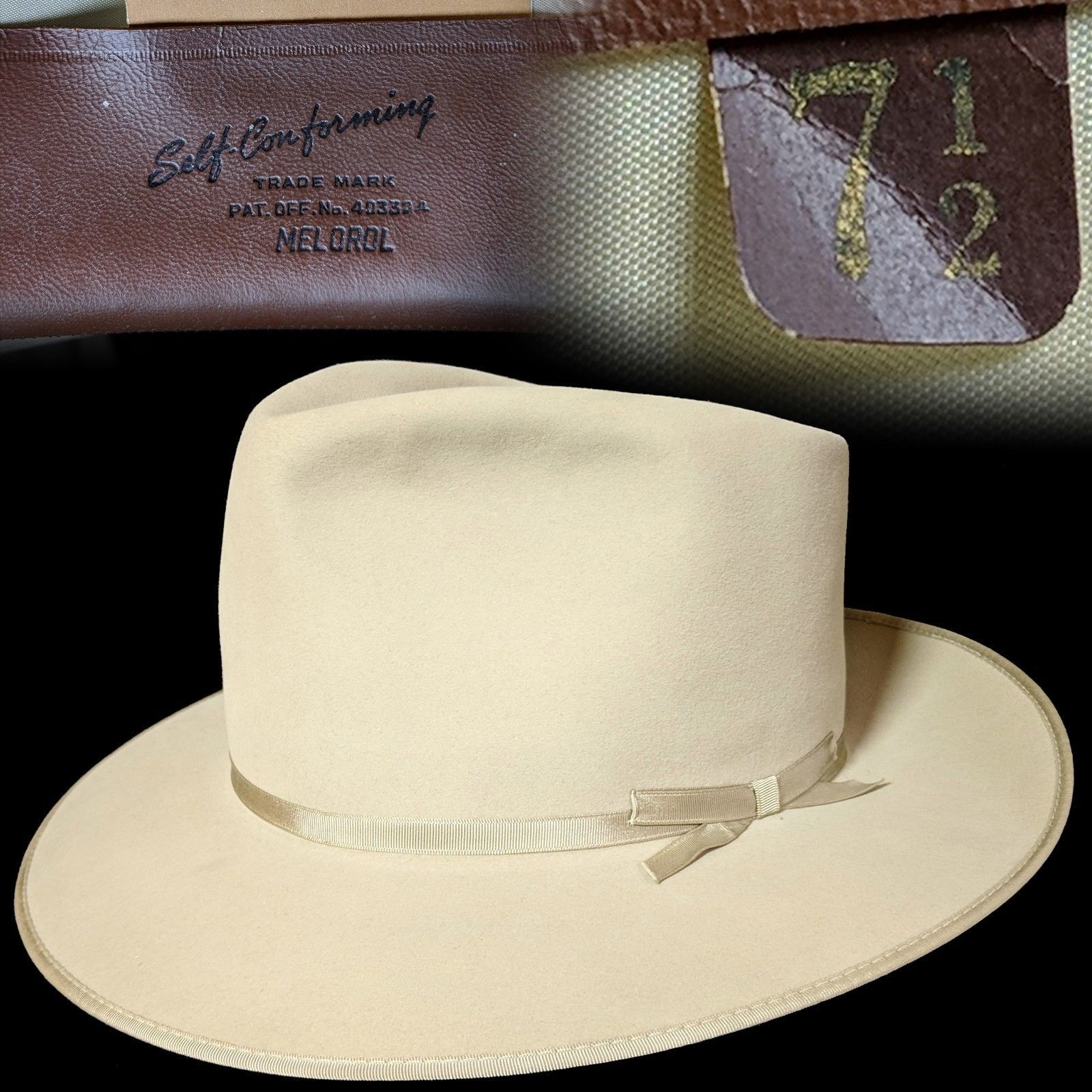 Vintage 7-1 2 Resistol fur felt thin ribbon fedora hat Open Road ... df1555df53b