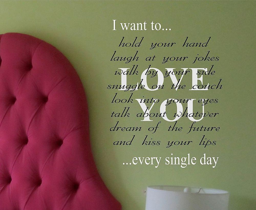 Love you vinyl wall decal lettering romantic words art romantic
