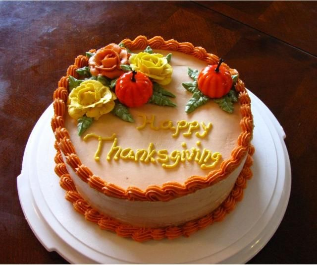 Cake Decorating Ideas For Thanksgiving : Thanksgiving Cake with roses Autumn Decorating ...