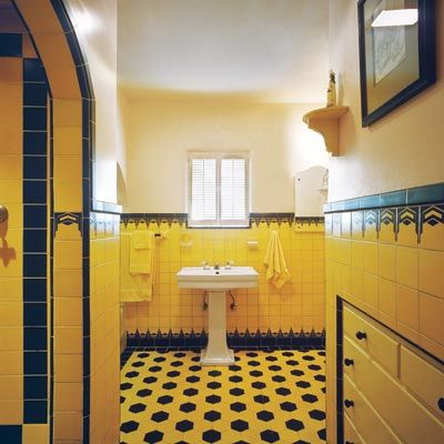 Note the built in on the right   Homes built from 1920 to 1940 often had  Art Deco style baths with colorful wall and floor tile. How to Create a Modern Bath in a Vintage Style   Vintage style