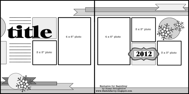 Quick easy scrapbook ideas - Basic Grey Scrapbook Sketch