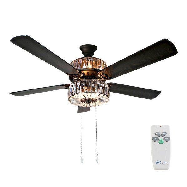 Crystalline beauty and functionality! Illuminate your room in style with this crystal ceiling fan. Six lights highlight the 78 caged crystals on both the upper and lower components for the ultimate in shine and design. Five wood grain textured blades allow for maximum air movement and are reversible! One side features a traditional mahogany finish, while the opposite side features a sleek, modern Gray/Mahogany color. Pull chain switches allow for manual power off/on, light and three...