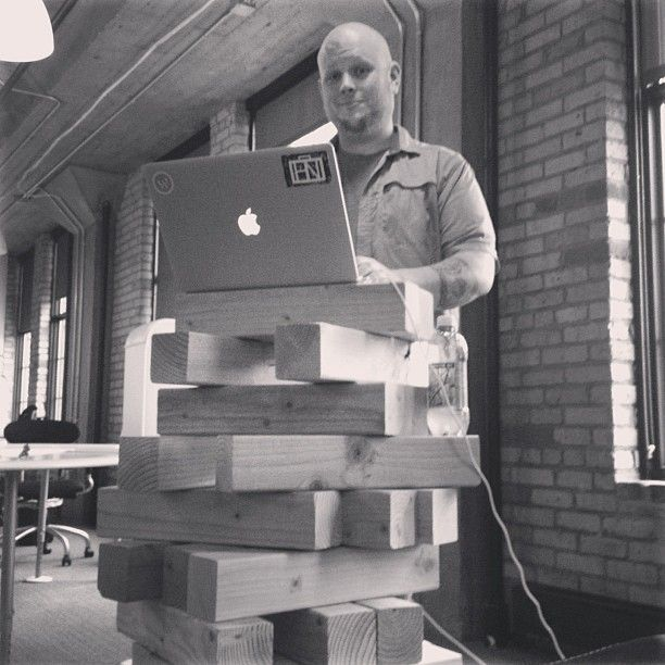 Where better to do tech architecture than on life size Jenga? #gokart600