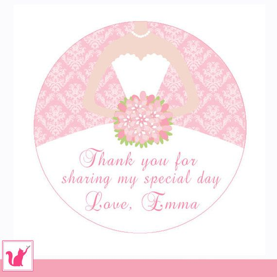 printable personalized pink bouquet damask bridal shower wedding thank you tag anniversary sweet 16 circle stickers