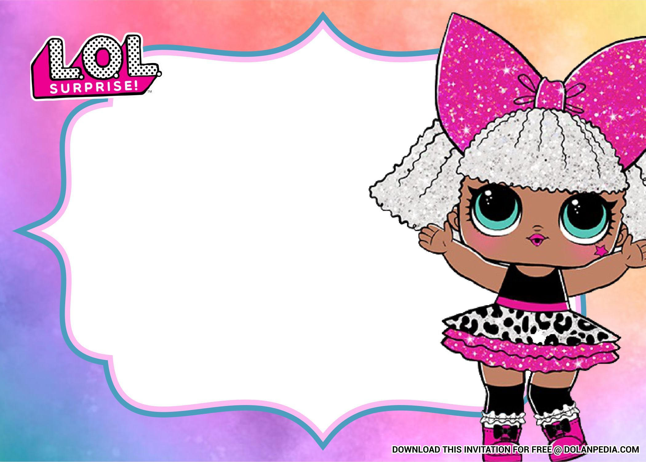Free Printable Lol Surprise Dolls Birthday Party Invitation Templates In 2020 Party Invite Template Birthday Party Invitation Templates Birthday Party Invitations