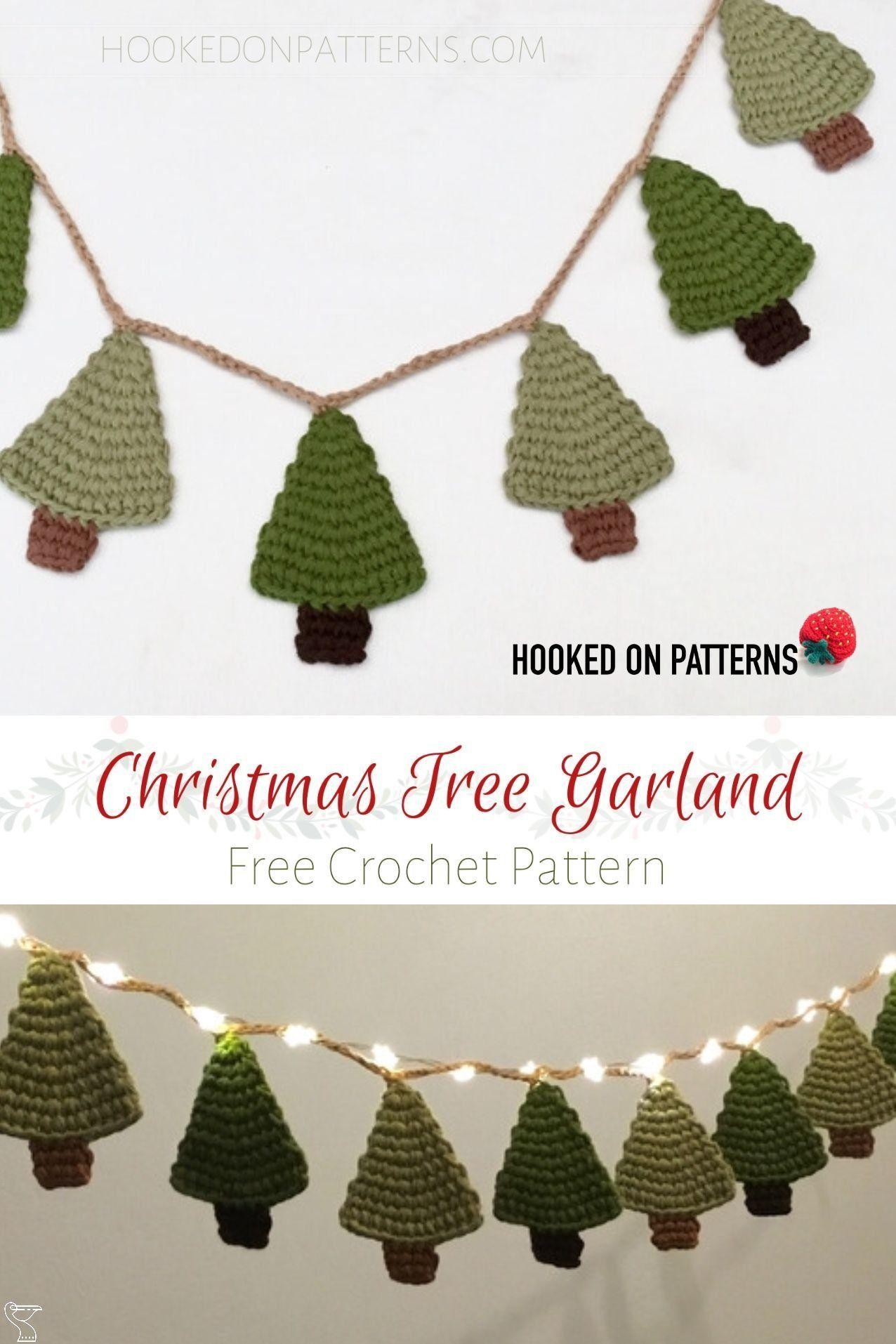 Free Crochet Christmas Tree Garland Free Crochet Christmas Tree Garland Pattern Make This Fun In 2020 Christmas Crochet Patterns Crochet Xmas Crochet Christmas Trees