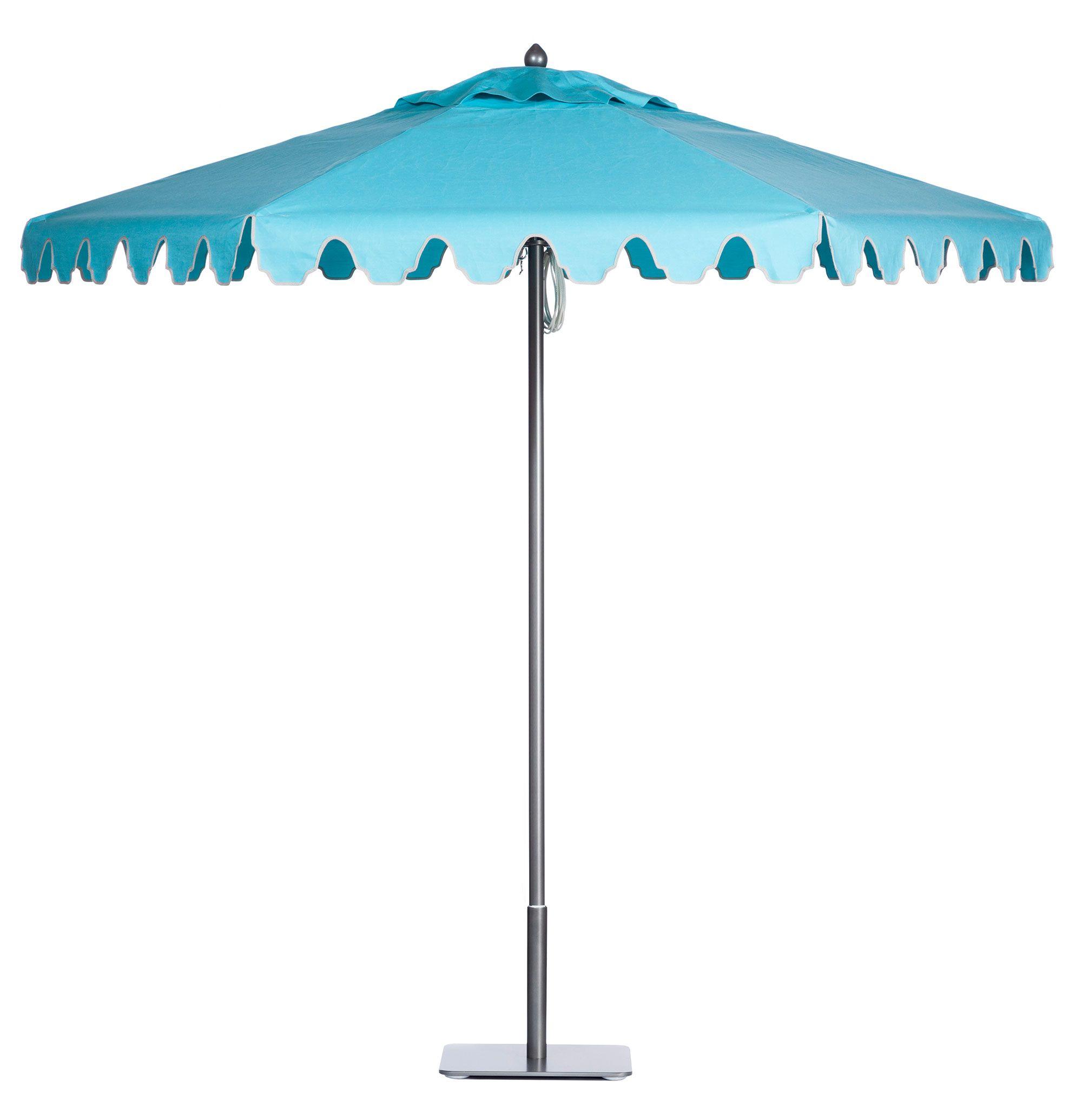 Paseo Aluminum Umbrella With Slate Frame In Aqua Sea Marquis