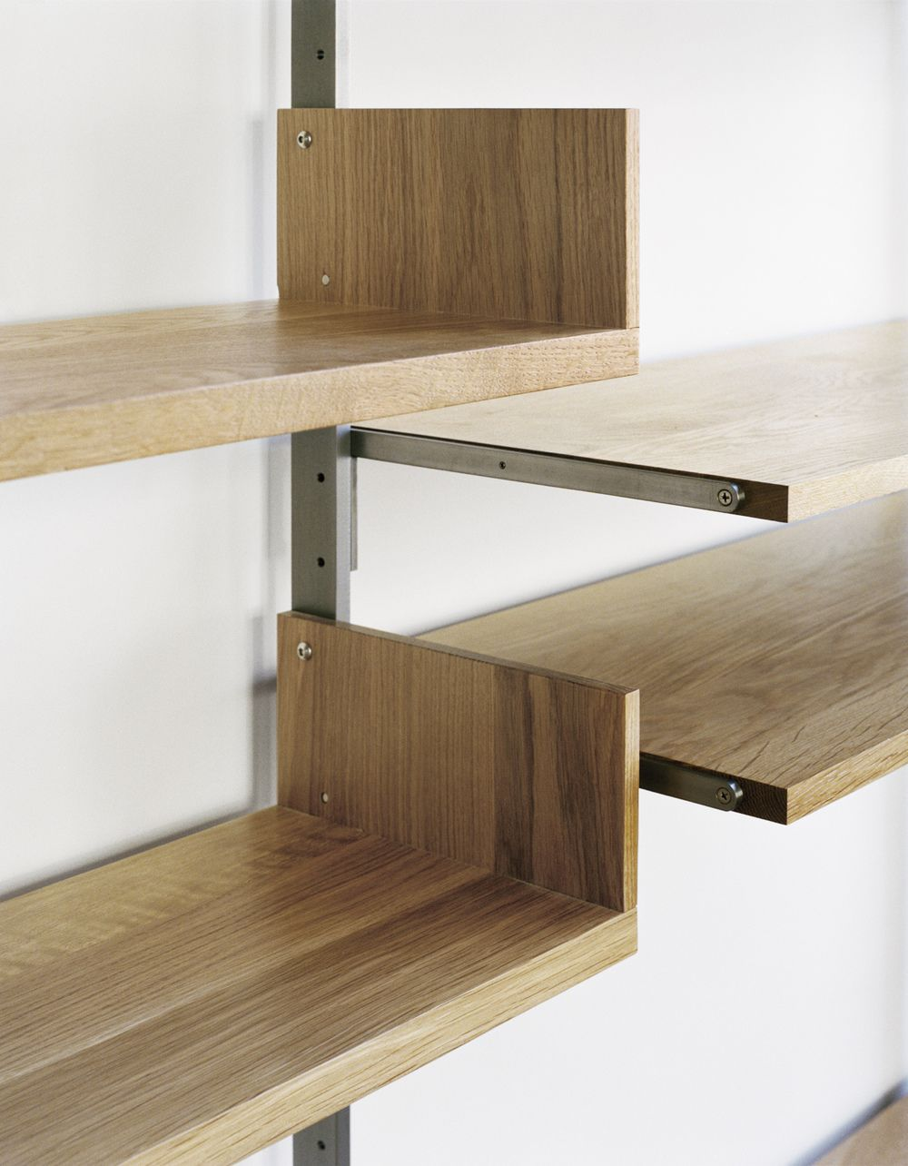 detail of as4 desk configuration in solid white oak & cold-rolled steel   photograph by: Meredith Heuer