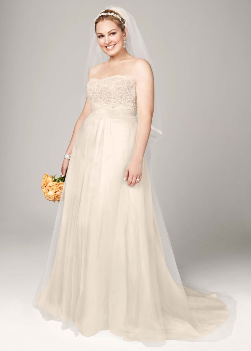 Strapless a line beaded lace tulle gown davidus bridal wedding