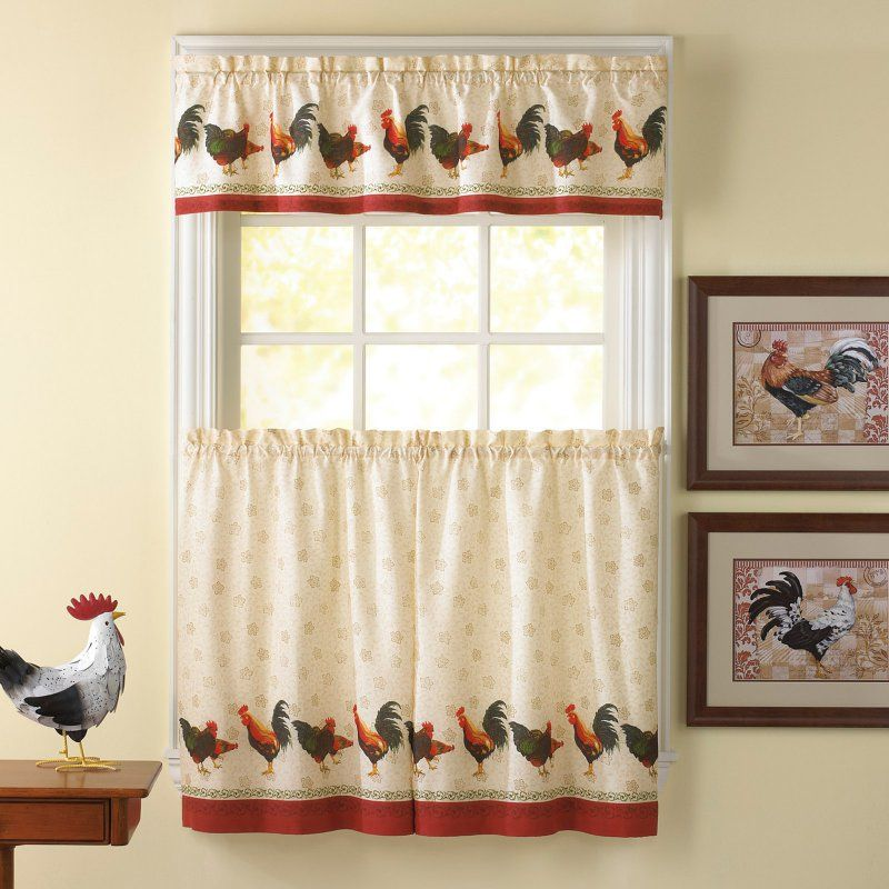 CHF Industries Morning Rooster 36 in. Kitchen Curtain Set - 1Z44100YMU