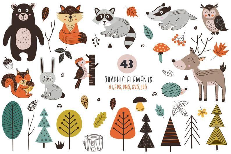 Woodland Nursery Scandinavian Forest Animals Clipart Woodland Etsy In 2021 Forest Animals Illustration Forest Animals Animal Clipart