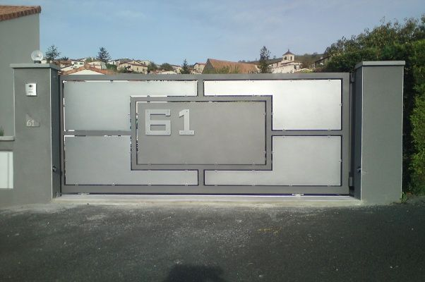 portail coulissant motoris thermolaqu gris paillet portail pinterest portail. Black Bedroom Furniture Sets. Home Design Ideas