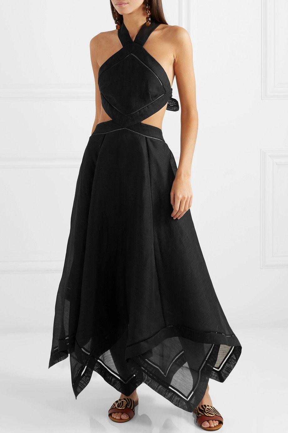 Zimmermann Corsage Cutout Silk And Linen Blend Halterneck Maxi Dress Net A Porter Com Dresses Maxi Dress Black Maxi Dress [ 1380 x 920 Pixel ]