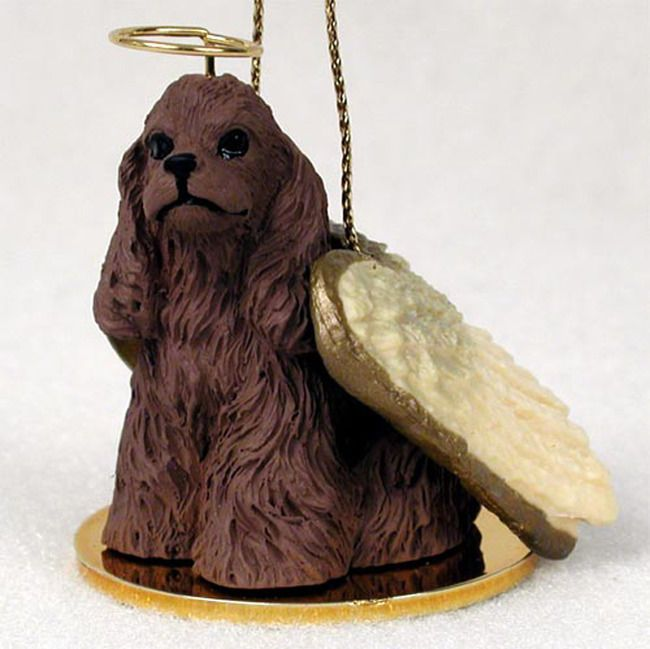 Chow Chow Ornament Angel Figurine Hand Painted Red