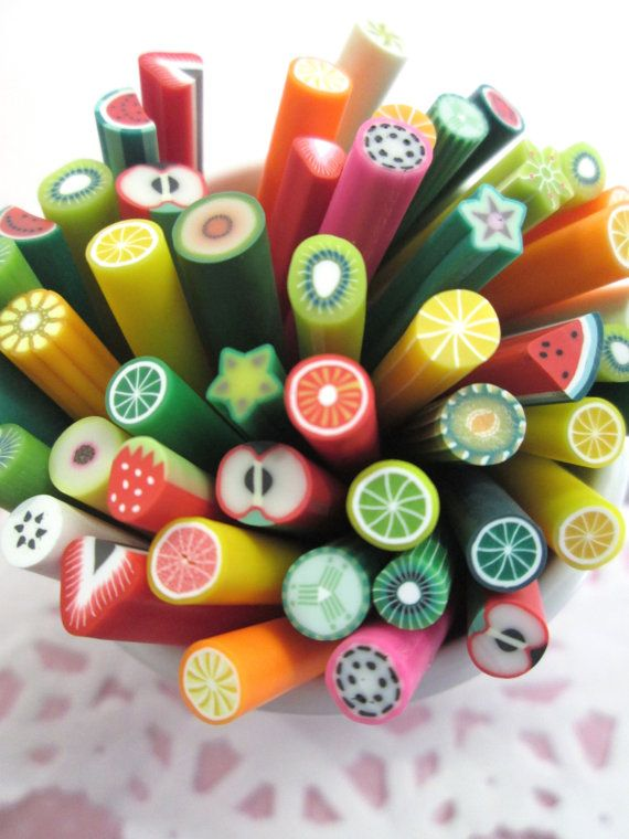 Surtido fruta polímero arcilla bastones 384 por HappyKawaiiSupplies ...