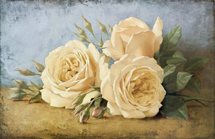 Три розы на столе I художника ЛЕВАШОВ Игорь (Levashov Igor) Russia