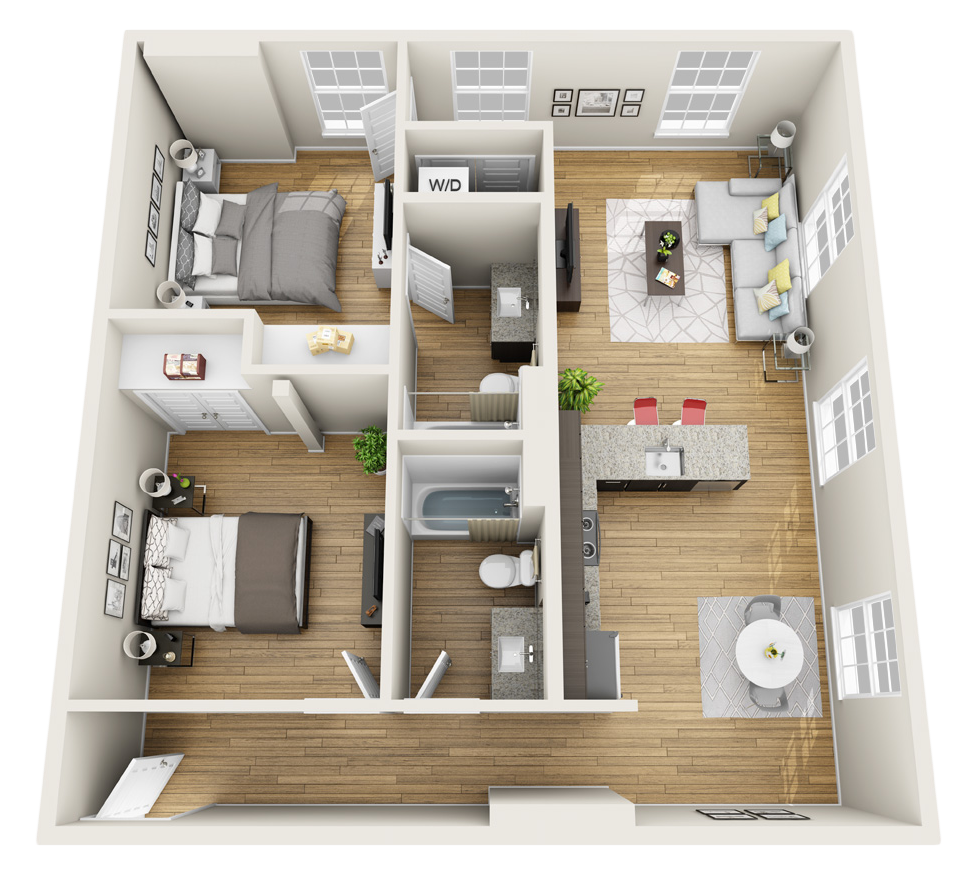 Magnolia loft 3d floor plan freshome pinterest for Small 2 bedroom apartment decorating ideas