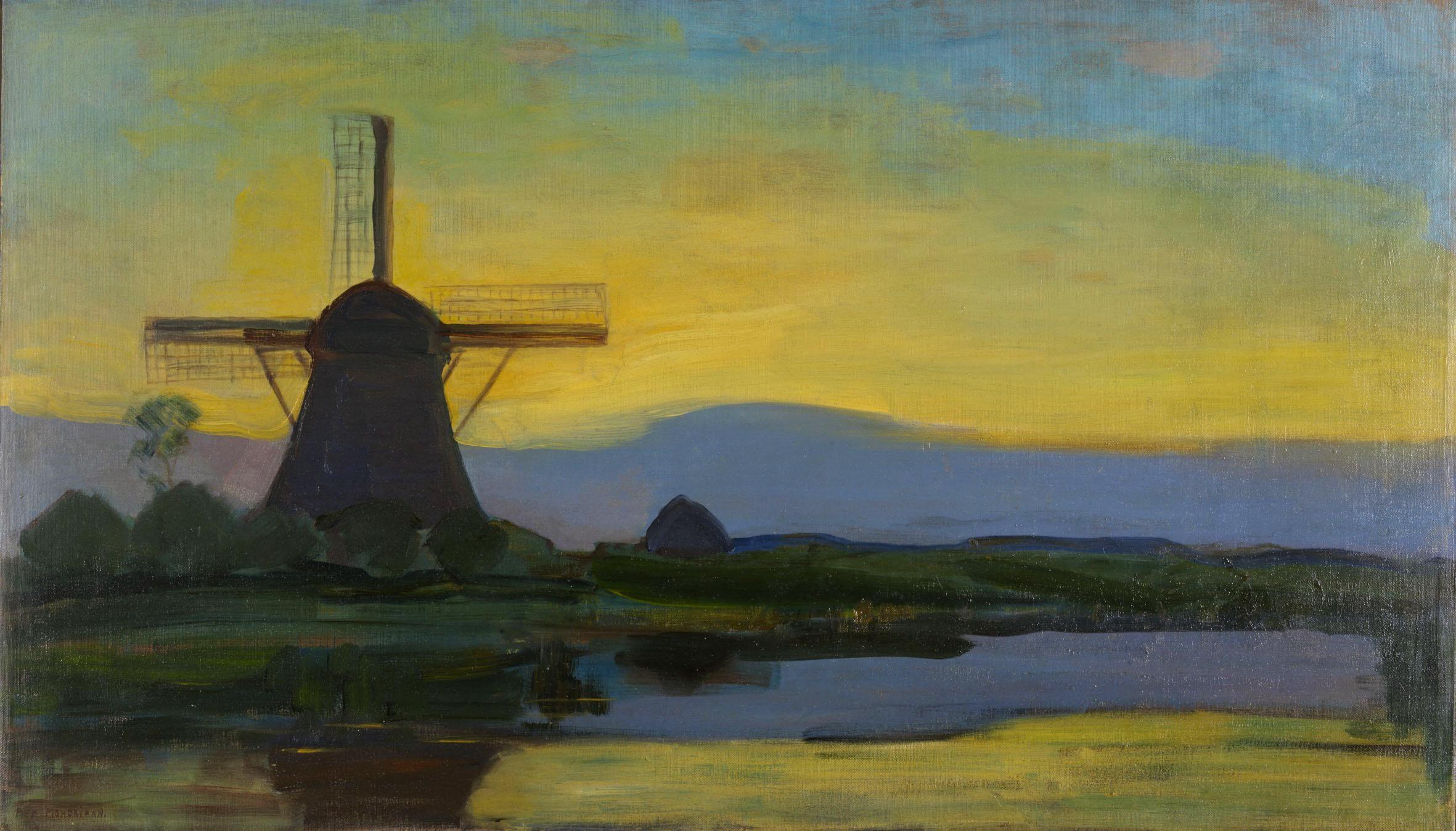 Paysage néerlandais au moulin, 1907 ou 1908, par Piet