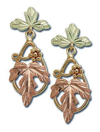 Attractive Landstroms 10 Karat Post Dangle Black Hills Gold Earrings With Leaves And G Cers