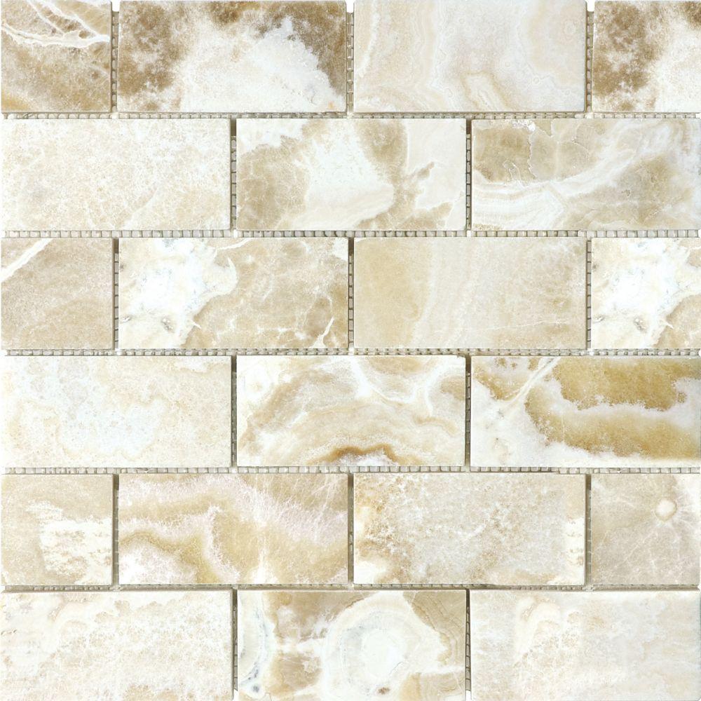 2-Inch x 4-Inch Polished Crema Onyx Mosaic Tile   Bathroom master ...