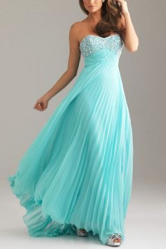 2013 Pleated Beaded Strapless Prom Dress