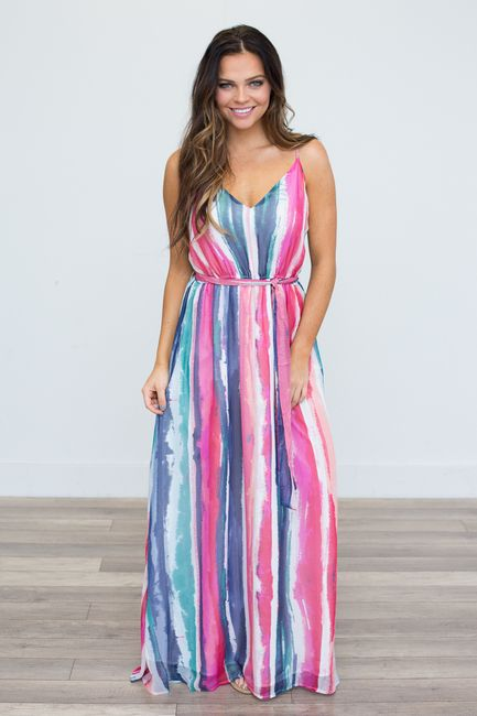 a35a443a89a Shop our Jack By BB Dakota  Watercolor Print Maxi Dress. Featuring a V-neck  and tie waist. Free shipping on all US orders!