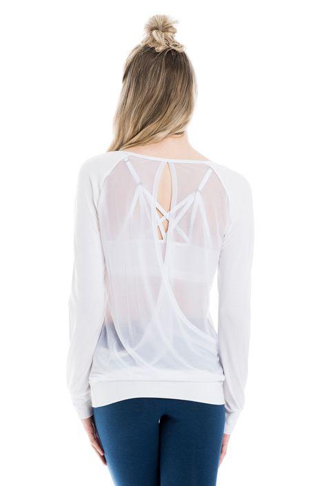 Ce chandail doux fait de tissu extensible dans les quatre sens est croisé au dos et posséde un filet qui laissera entrevoir votre dos... ou votre soutien-gorge Lolë à bretelles! Taillé dans le tissu Lolë à séchage rap