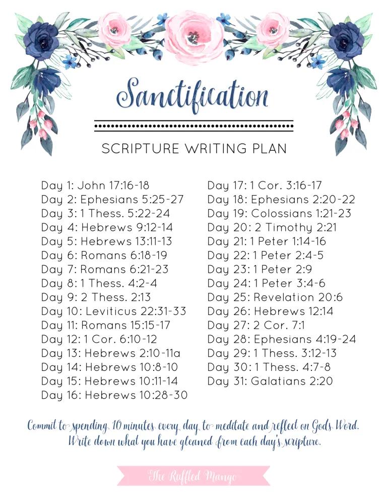 April Scripture Writing Plan: Sanctification - The Ruffled Mango