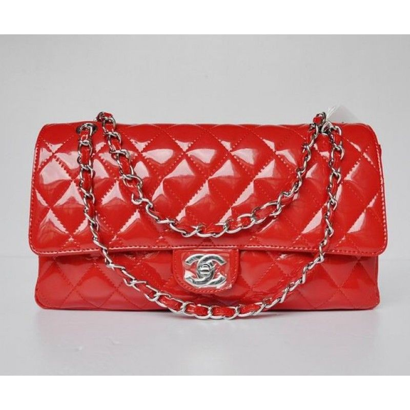 Chanel 2.55 Red Leather Glazed With Silver Chain Bag