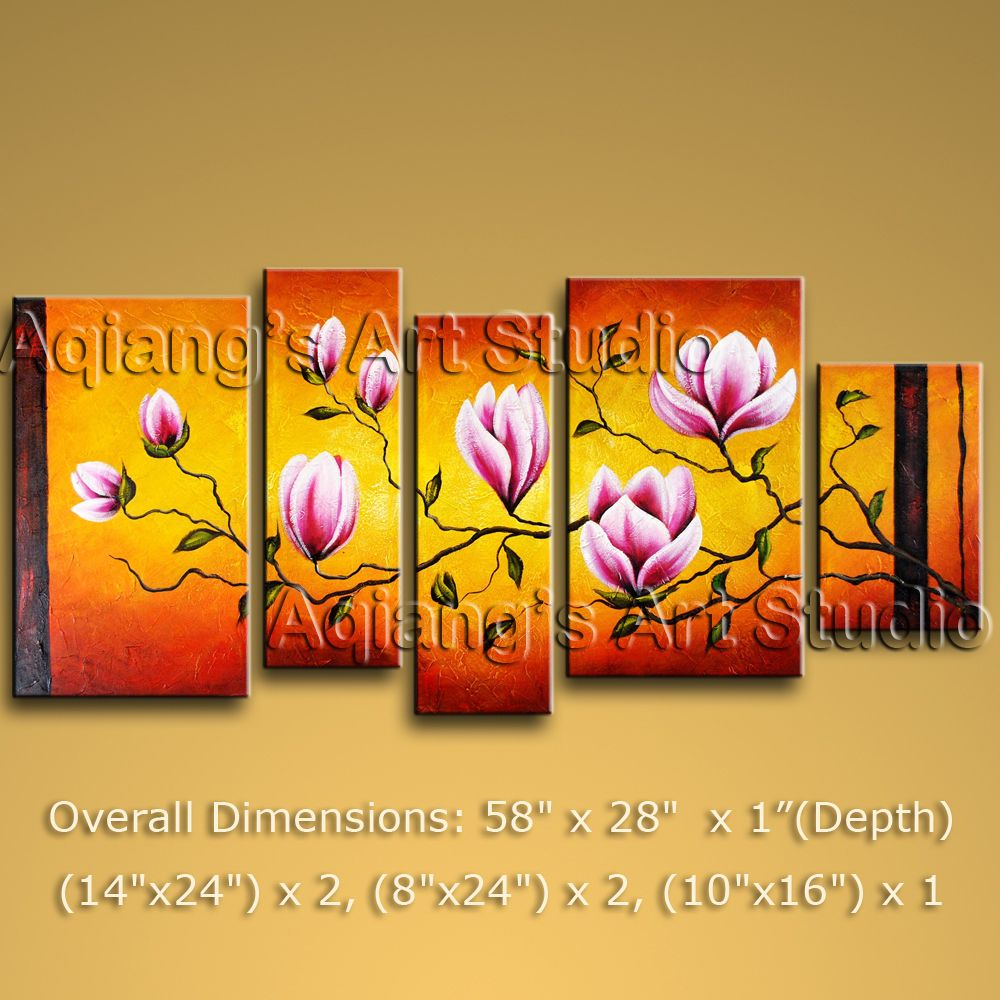Large Framed Abstract Floral Oil Painting Tulip Flowers Modern ...