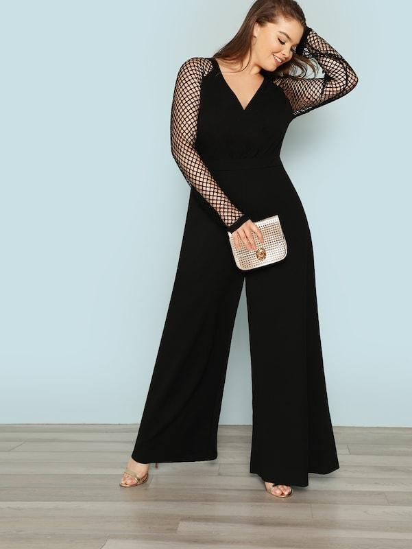 3a86a228101d6 Plus Fishnet Sleeve Wide Leg Jumpsuit