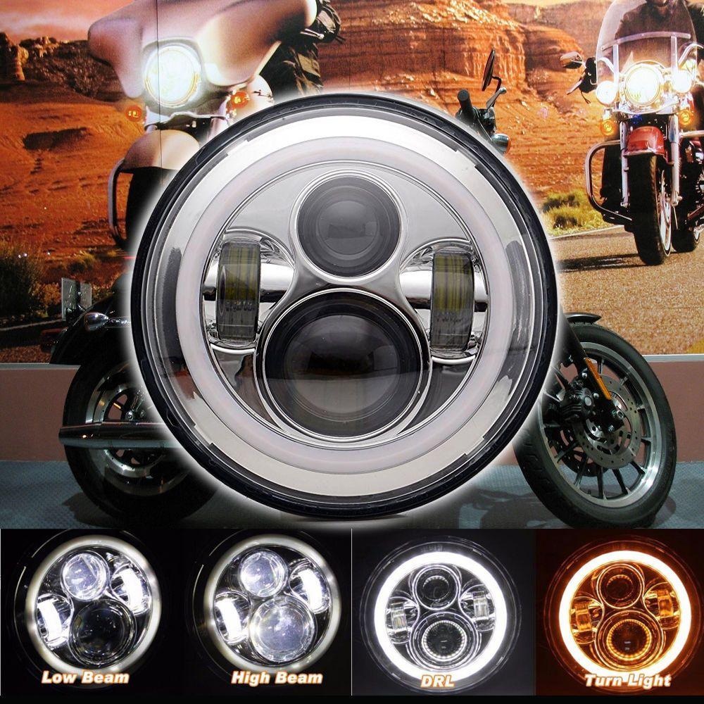 Chrome 7 Led Projector Headlight Bulb Halo Angel Eye For Harley Jeep Ebay Led Motorcycle Headlight Cafe Racer Parts Motorcycle Headlight