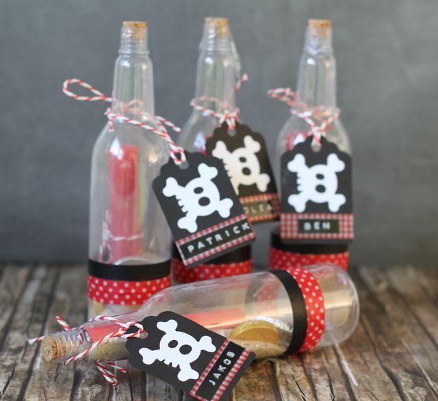 Einladung Piratenparty Kindergeburtstag Flaschenpost