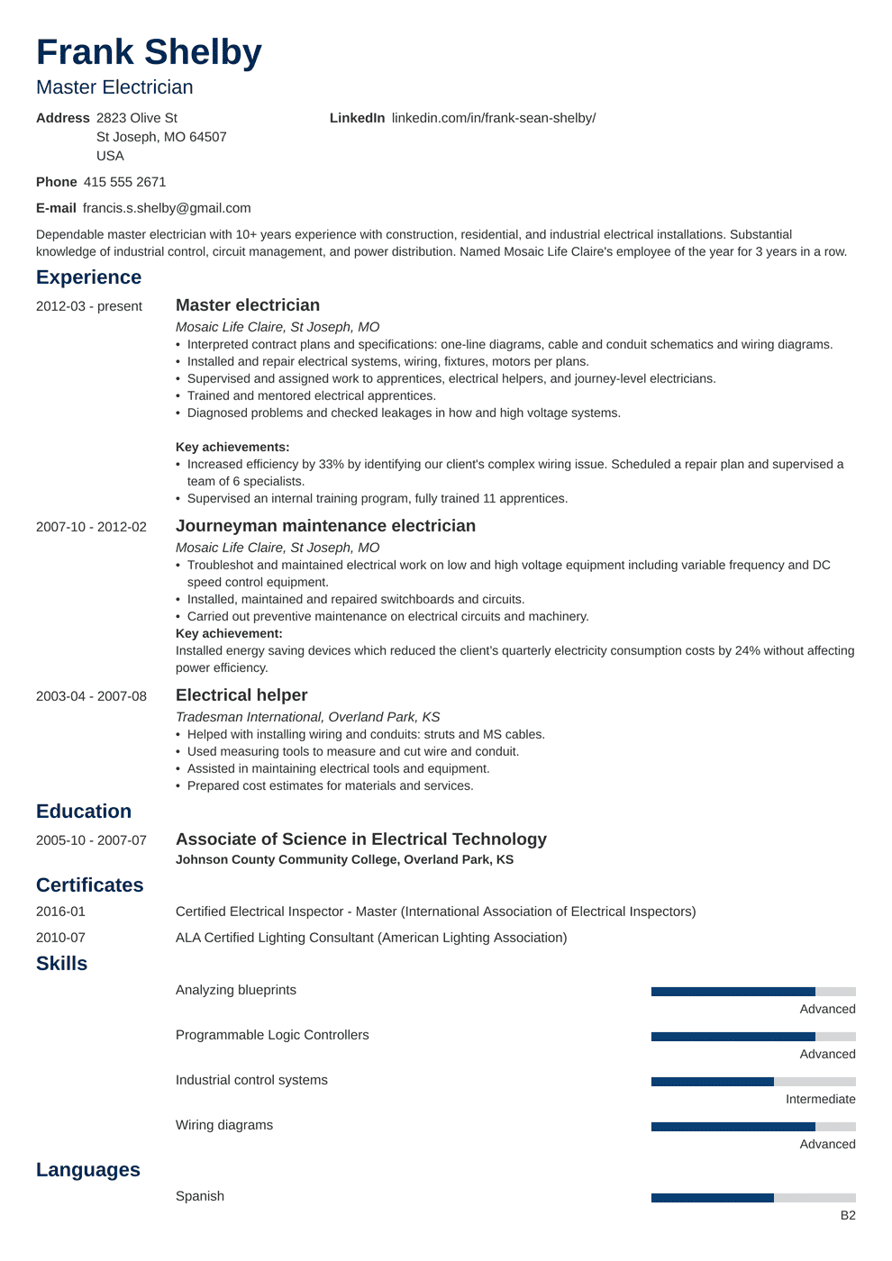 electrician resume template newcast in 2020 Resume