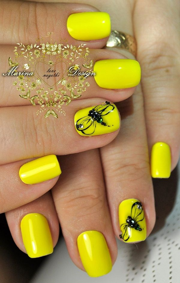 45 Yellow Nail Art Designs Pinterest Yellow Nail Art