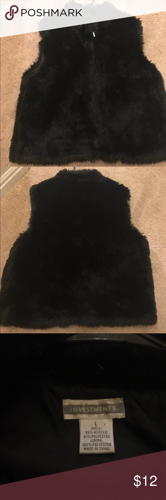 Black faux fur vest Size large black faux fur vest. Good condition. Jackets & Coats Vests