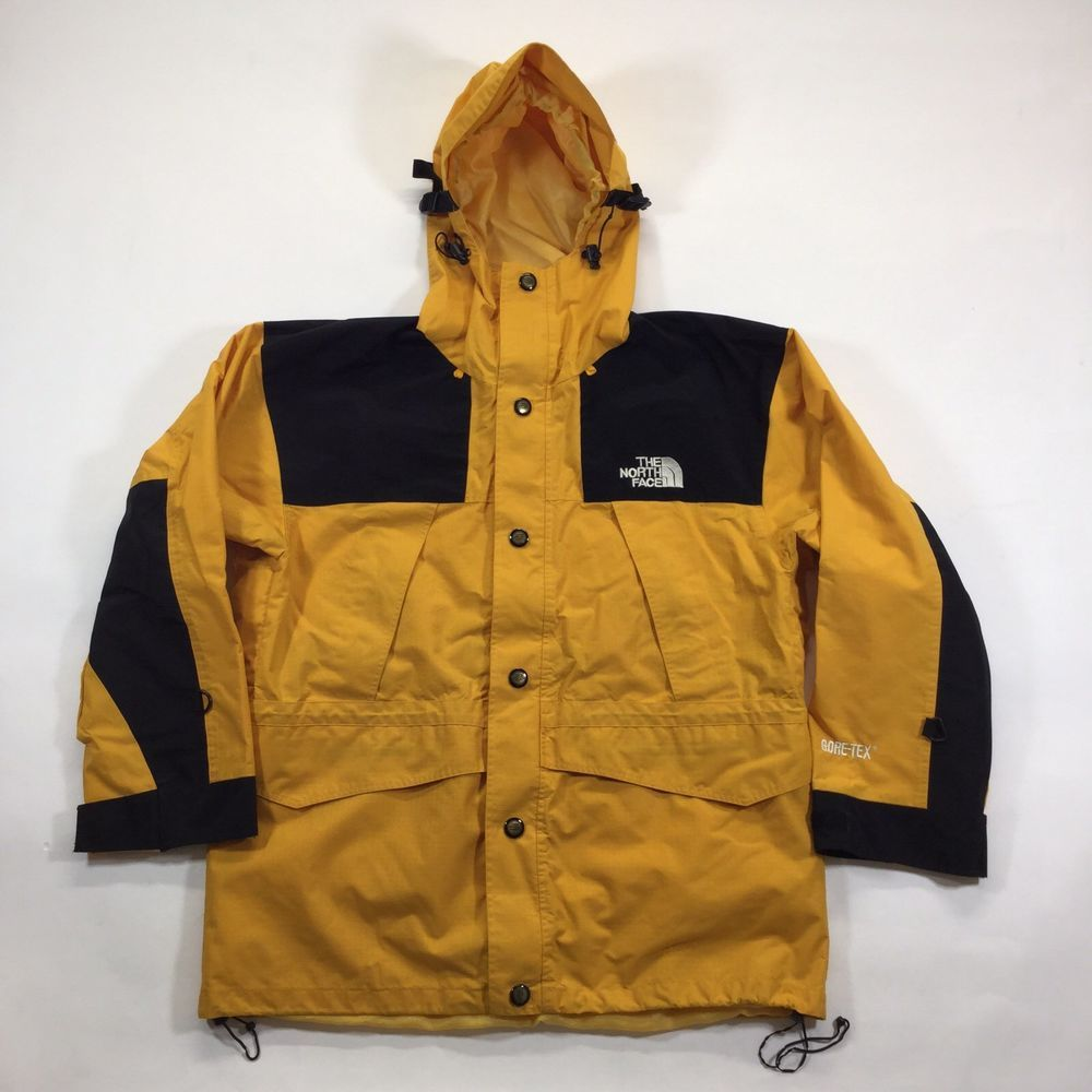 4ed3463df Vintage 90's The North Face Mountain Guide Yellow Goretex Jacket M ...