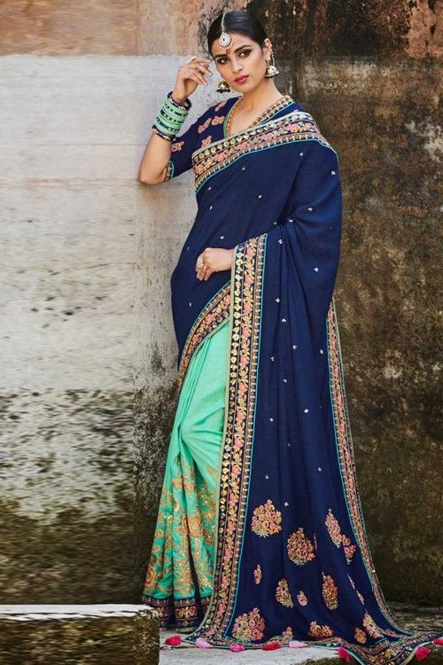 ab6f4c7a8e1 Aqua Green And Navy Blue Tussar Silk Saree With Tussar Silk Blouse http