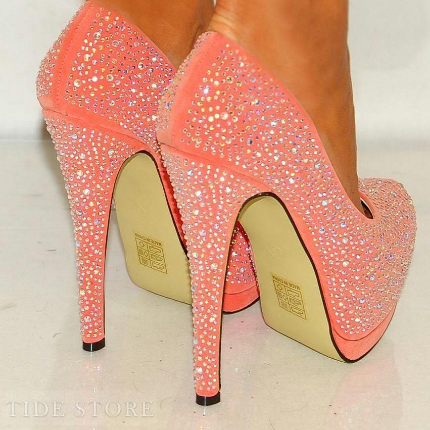 9777b5c05a6e3 US 86.99 Sparkle Pink Rhinestone Sky-high Platform Stiletto Heels ...