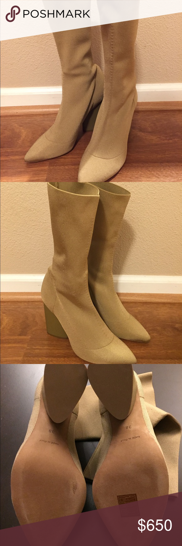06beec1f86bce Yeezy Season 4 Low Knit Calf Boot - ochre New with box and dust bag! Color green  ochre. Appears more tan in person. Size 38. Yeezy Shoes Ankle Boots   ...