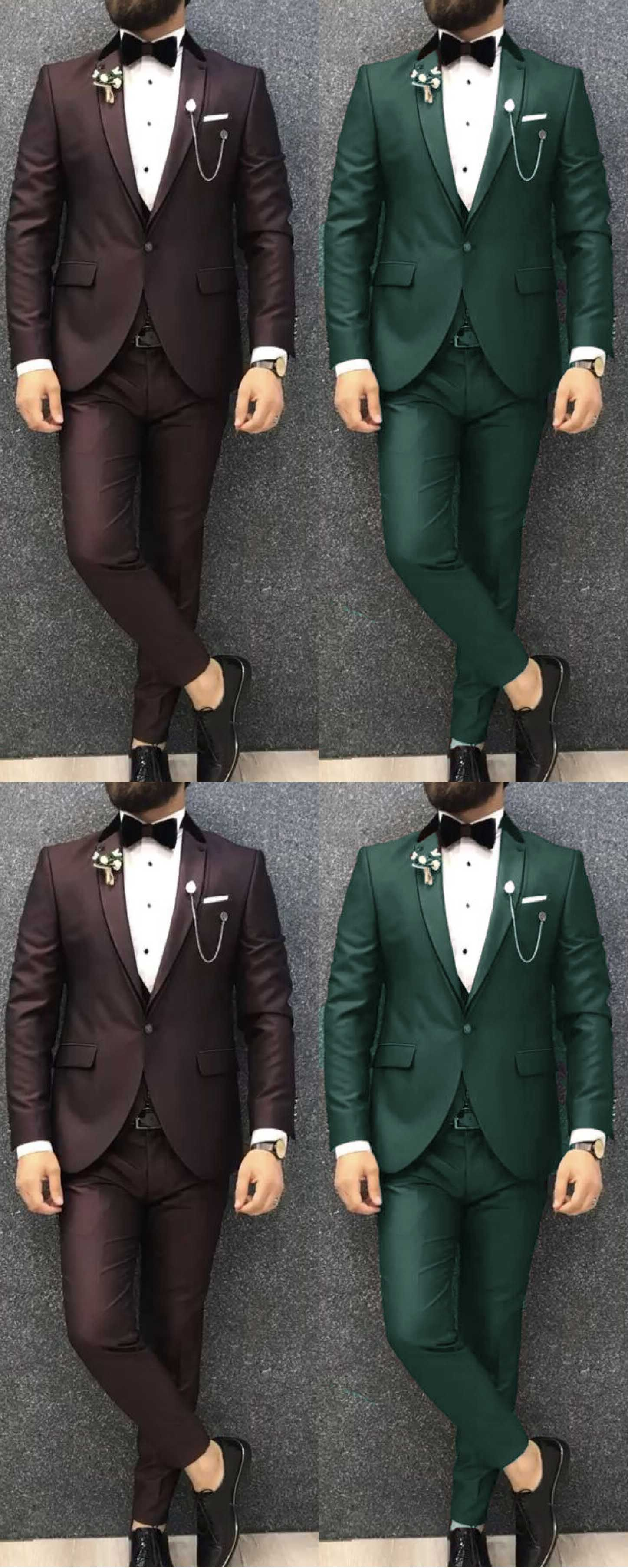 Chocolate/Green Two Pieces Prom Tuxedos 2020 Wedding