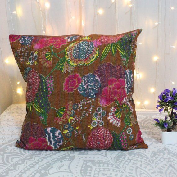 Indian Vintage Kantha Cushion Cover Pillow Case Thread Work Ethnic Decorative