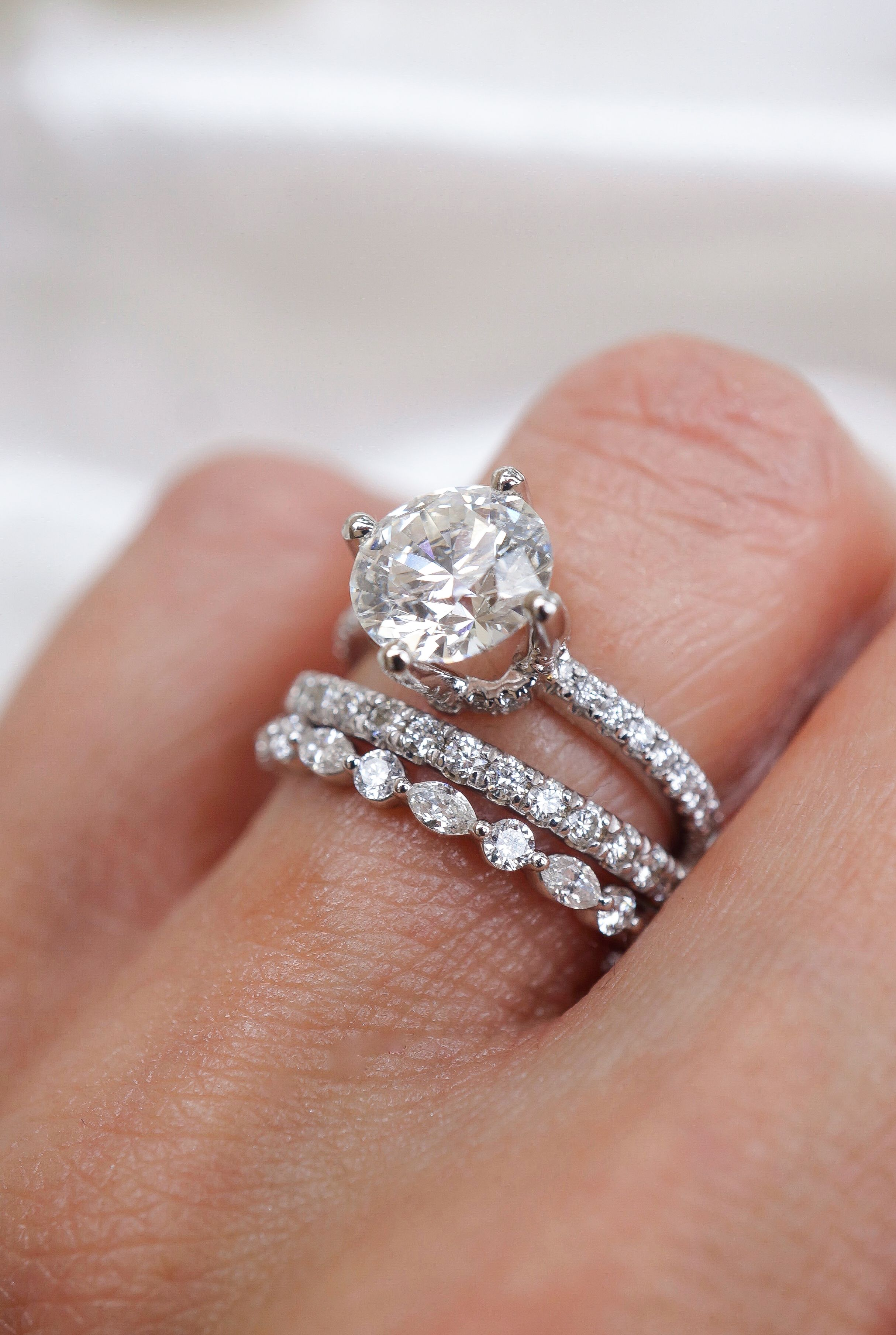 Diamond Wedding Set With Stackable Wedding Bands With Images