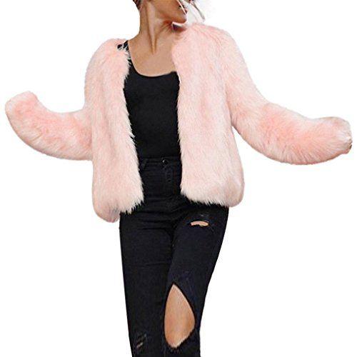 4ea01af338aa Frau Faux Pelz Kurzer Mantel Hirolan Winter Warm Pelzjacke Lange Hülse  Oberbekleidung Nachahmung Pelz Mantel Rosa