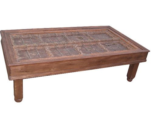 Old Door Coffee Table Rustic Hand Carved Teak Table India ...