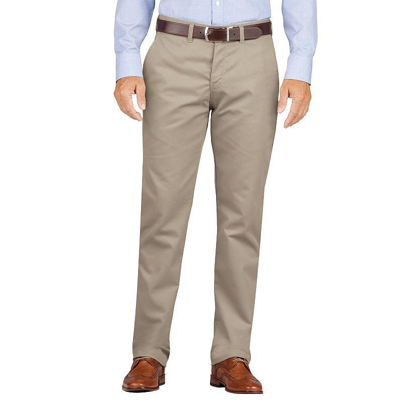 Men's Dickies Slim-Fit Wrinkle-Resistant Khaki Dress Pants, Size: 30X30, Dark Beige