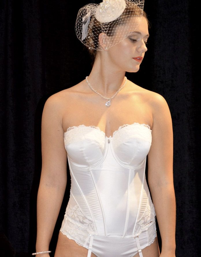 2b30a767cfe Ivory bridal basque with lace trim